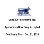 Applications now available for 2021 ISA Horsemen's Rep
